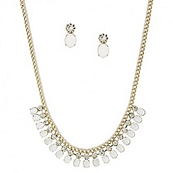 Mood - White oval stone and cord wrap jewellery set