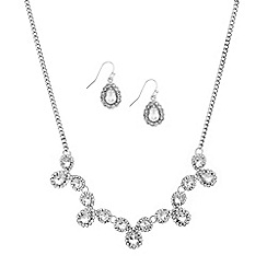 Mood - Diamante surround teardrop necklace and earring set