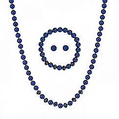 Mood - Blue pearl and facet bead trio jewellery set