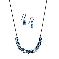 Mood - Blue tonal navette stone necklace and earring set