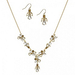 Mood - Teardrop cluster link necklace and earring set