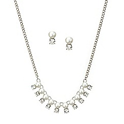 Mood - Pearl and crystal drop necklace and earring set