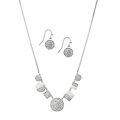 Mood - Crystal embellished disc and square drop jewellery set