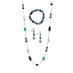 Mood - Crystal disc and mixed bead trio jewellery set