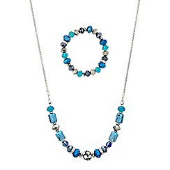 Mood - Decorative blue bead stacker necklace and earring set