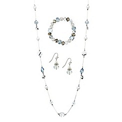 Mood - Mixed blue bead and pearl trio jewellery set
