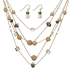 Mood - Rose gold bead embellished necklace and earring set