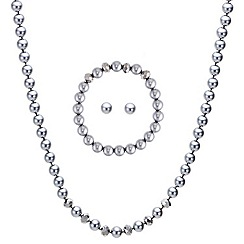 Mood - Grey pearl and facet bead trio jewellery set