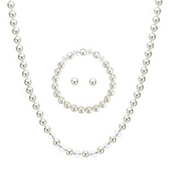Mood - Cream pearl and facet bead trio jewellery set