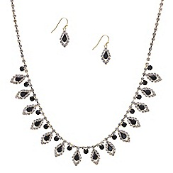 Mood - Jet teardrop navette surround necklace and earring set