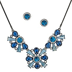 Mood - Mixed blue stone triple drop necklace and earring set
