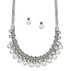 Mood - Pearl chain wrap necklace and drop earring set