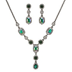 Mood - Metallic green teardrop necklace and earring set