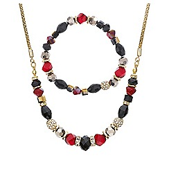 Mood - Red and jet beaded stacker jewellery set
