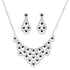 Mood - Jet and diamante crystal loop jewellery set