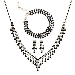 Mood - Online exclusive jet diamante crystal trio jewellery set