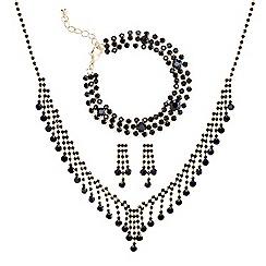 Mood - Online exclusive jet diamante crystal trio jewellery set