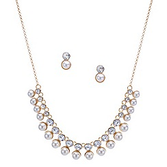 Mood - Crystal and pearl drop double row necklace and earring set