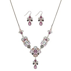 Mood - Pink tonal mixed stone 'y' drop necklace and earrings set