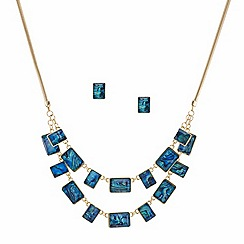 Mood - Green marbleized rectangle double row necklace and earring set