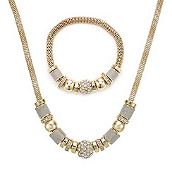 Mood - Gold diamante and glitter stacker necklace and bracelet