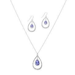 Mood - Purple crystal double teardrop necklace and earring set