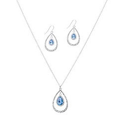 Mood - Blue crystal double teardrop necklace and earring set