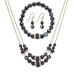 Mood - Jet faceted bead and crystal embellished jewellery set