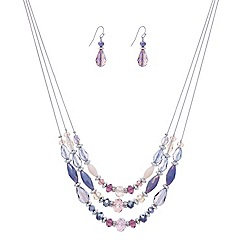 Mood - Triple row purple facet bead necklace and drop earring set
