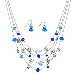 Mood - Blue facet bead multirownecklace with matching earring