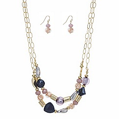Mood - Double row mixed bead necklace and drop earring set