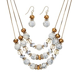 Mood - Triple row cream and facet bead necklace and earring set