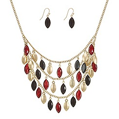Mood - Triple row navette drop necklace and earring set