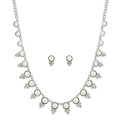 Mood - White stone and crystal necklace and earring set
