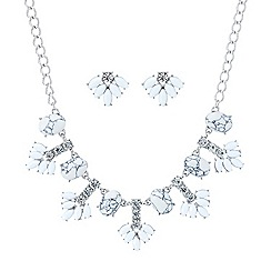 Mood - White stone crystal statement necklace and earring set