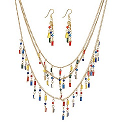 Mood - Cube bead multirow necklace and earring set