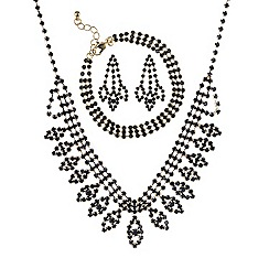 Mood - Black diamante navette jewellery set