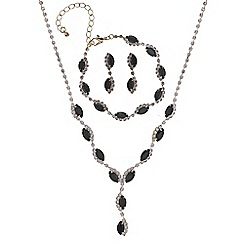 Mood - Black navette diamante jewellery set