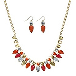 Mood - Orange navette statement necklace and matching earring