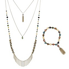 Mood - Multi row beaded fringed necklace and bracelet set