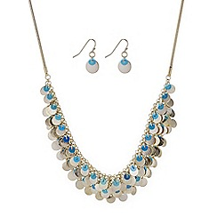 Mood - Gold layered sequin necklace and earring set