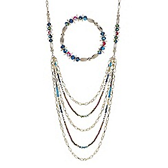 Mood - Bead and chain multi row long necklace with matching bracelet