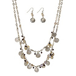 Mood - Shell drop charm necklace and earring set
