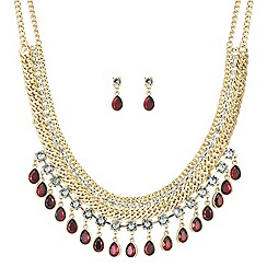 Mood - Red droplet crystal drop necklace and earring set