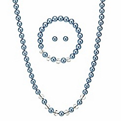 Mood - Blue pearl necklace with matching bracelet and earring