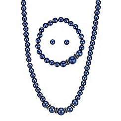 Mood - Blue pearl and crystal matching jewellery set