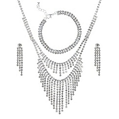 Mood - Silver crystal diamante shower jewellery set