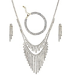 Mood - Gold diamante shower two row necklace and earring set