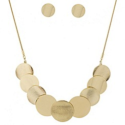 Mood - Textured disc necklace and earring set