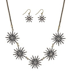 Mood - Gold crystal starburst necklace and earring set